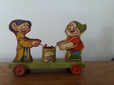 Vintage Disney Fisher Price Snow White Dopey & Doc Wooden Pull Toy