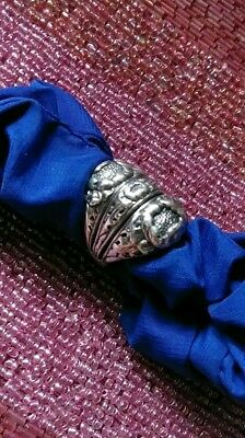 VINTAGE STERLING SILVER ART NOUVEAU FLORAL RING wide Bold Heavy SZ 8