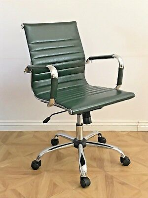 Retro GREEN Designer Eames Ribbed Style Swivel Office Computer Chair