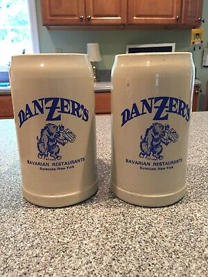 Set Two 2 Beer Steins From Danzers Bavarian Restaurant Syracuse NY Oktoberfest