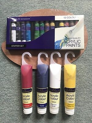 Children Arts Craft Acrylic Paint 8 Tubes of Assorted Colours Each Tube 120ml...