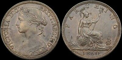 GREAT BRITAIN. Victoria Farthing, 1860, Beaded boarder, XF-AU