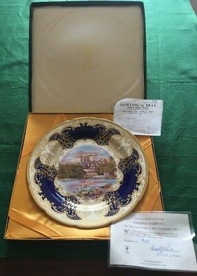 "Crown Staffordshire England porcelain 11"" Plaque,25th Anniversary Queen, Windsor"