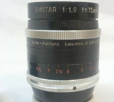 Switar 75mm 1.9 Lens Kern - Paillard  Pre owned