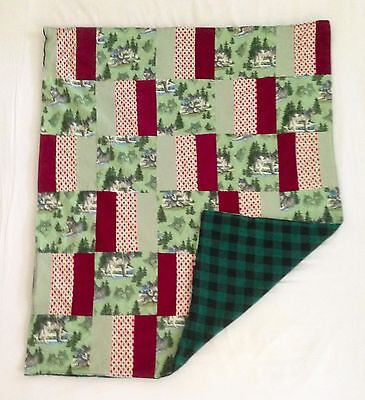 Handmade Husky Dog Wolf Flannel Red Green Huskies Dogs Wolves Baby Boy Quilt