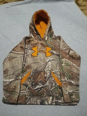 EUC UNDER ARMOUR LOOSE BOYS PULL OVER CAMO HOODIE SIZE YM youth M