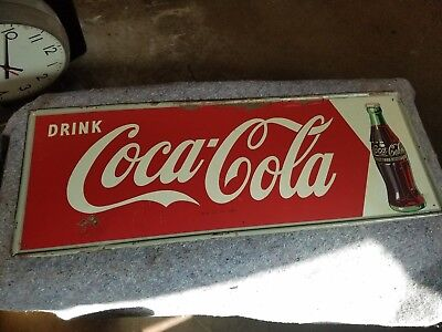Vintage 1950s Coca Cola Metal Tin Sign Soda Pop General Store Parlor Cafe Diner