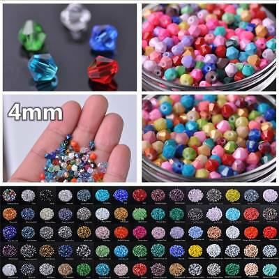 100pcs 4mm Bicone Faceted 5301# Crystal Glass Small Loose Spacer Beads Lots