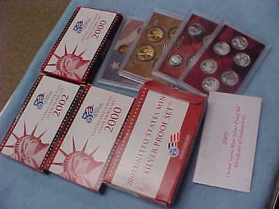 4 SILVER  U S Mint Proof Sets Lot 2000 (2), 2002, and 2009 WITH OGP / BOXES/COAS