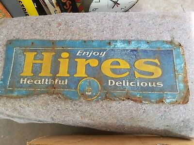 Vintage 1920s Hires Root Beer Embossed Tin Tacker Sign Soda Pop Diner Cafe OLD