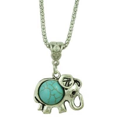 Chain with Antique Silver and Turquoise Elephant Pendant - PT514