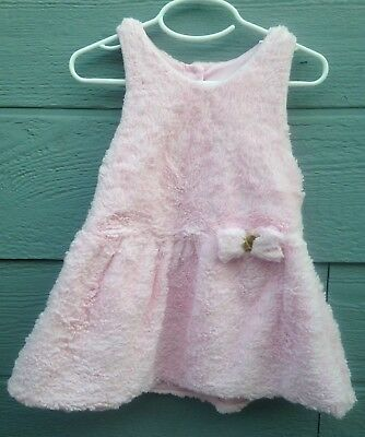 Nauuette Baby Dress Girls Size 3T Pink Faux Fur Sleeveless Pre-Owned