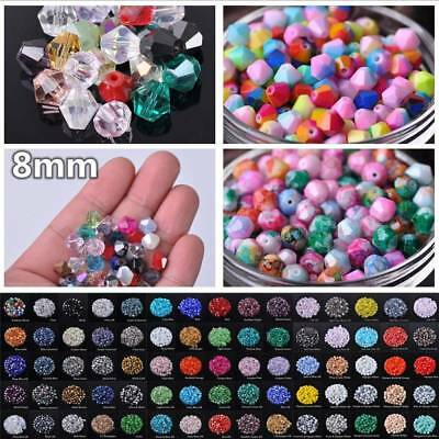 72pcs 8mm Bicone Faceted 5301# Crystal Glass Loose Spacer Beads DIY Jewelry