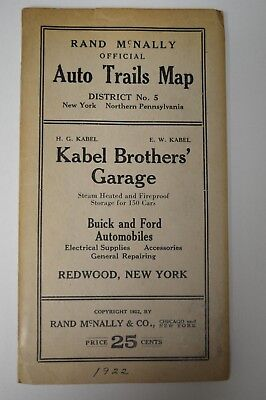 1922 - Rand McNally Official Auto Trails Map District No.5 New York Pennsylvania
