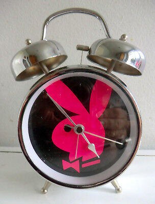 Playboy Bunny Chrome Retro Twin Bell-Style Novelty Alarm Clock With Second Hand