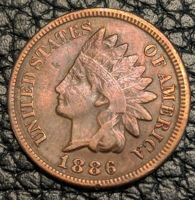 1886 Type 2 Indian Head Cent! Scarce variety!