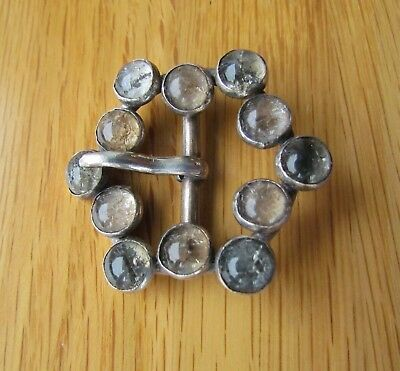 Signed Ab France Large Victorian French Silver Buckle With Stones 4.8Cm Dia