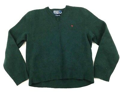 Ralph Lauren Polo Youth Boys Sweater Sz M 100% Lambswool Dark Green V-Neck