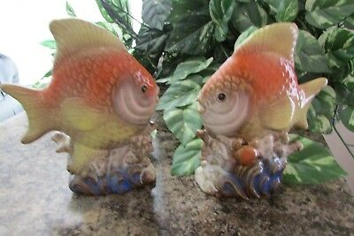 Pair of Vintage Ceramic Tropical Fish Figurines