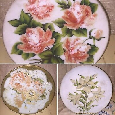 Antique Mount MT Washington Hand Painted Milk Glass Plate Charger Embossed