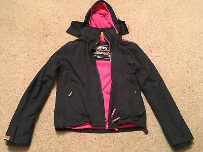 Womens Superdry Professional The Windcheater Jacket Size Large Black & Pink