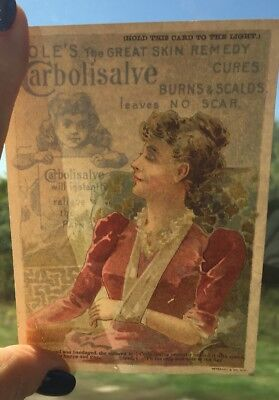 Cole's Carbolisalve Skin Remedy Happy Right 1891, Trade Card, Pain Relief