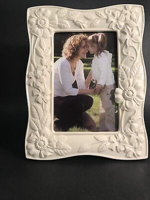 "Lenox Floral Fields Picture Frame Holds 4x6"" Photos Porcelain Embossed Flowers"