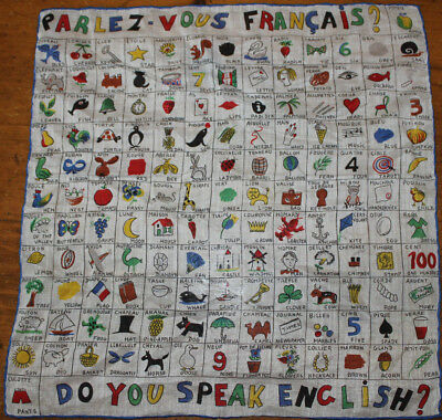 Vintage ladies Hankie Handkerchief 145 pictures w/French & English Word SO CUTE!