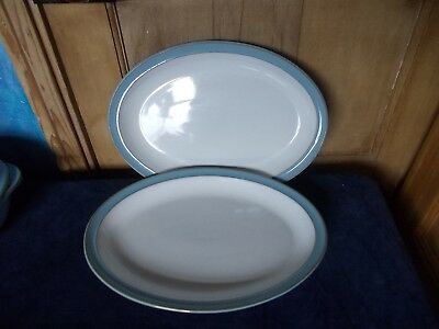Two Denby Large   Oval Colonial Blue  Serving Dinner Plates