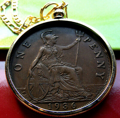 """1936 Olde English King George Big Penny. w 18KGF Gold Filled Bezel & 24"""" Chain."""