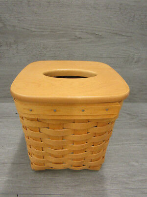 2002 Longaberger Woven Basket Tissue Box Holder W/Wood Lid
