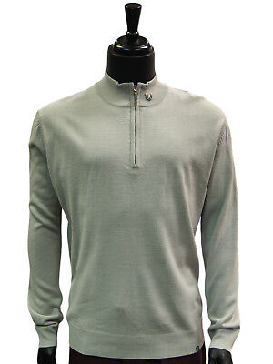 Stacy Adams Grey Lightweight Mens Half Zip Mock Neck Pullover Sweater