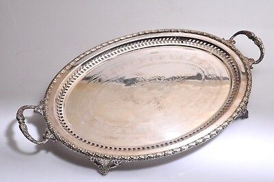 "Vintage 1800's Hallmarked Silver-plated Footed Beautiful Butler Tray 21.5""X14"""