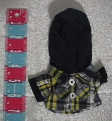 Build A Bear Clothes Smallfrys Blue Yellow Plaid Hoodie Top