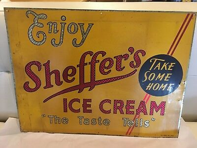Vintage Rare Ice Cream Embossed Tin Advertising Sign 1950s