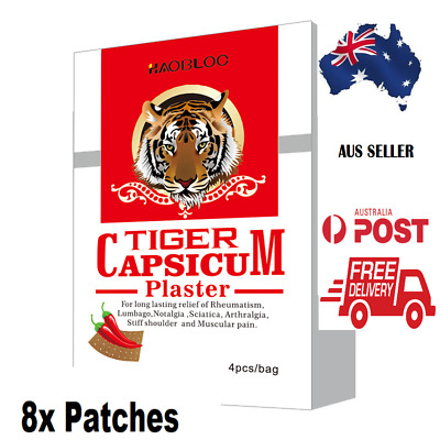 Tiger Capsicum Plaster Patch - Pain Relief- 8 Plasters 7 X10 Cms