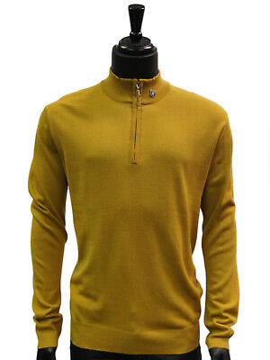 Stacy Adams Mustard Gold Lightweight Mens Half Zip Mock Neck Sweater