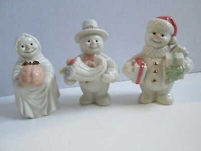 Lenox Snowman Lot of 3 - October Halloween, November Thanksgiving, December