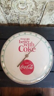 Vintage 1950s Drink Coca Cola Things Go Better With Coke Thermometer Advertising