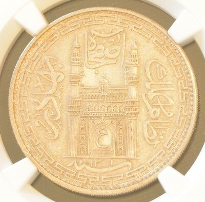 AH1361//32 INDIA HYDERABAD One RUPEE Silver NGC MS 61