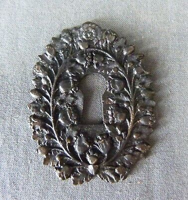 "French Antique Bronze Keyhole Cover Escutcheon Empire Style - 2"" 1/4 x 1"" 3/4"