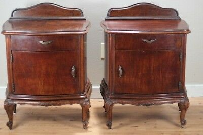 Vintage pair of antique night stand tables. 1880's Italian