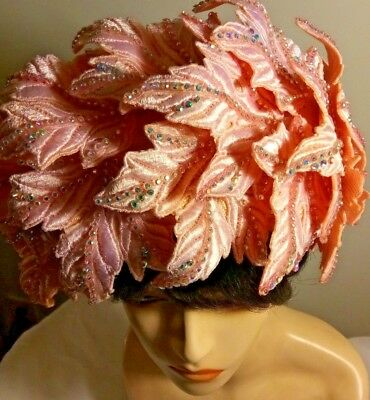 Magnificent Pink Leaves W Rhines Styled By Jack Mcconnell Womens Hat Red Feather