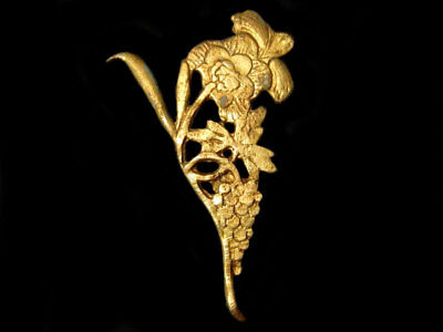 Superb Post Byzantine Silver Gilt Mount Decoration Applique++Flower And Grape+++