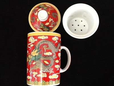 Chinese Porcelain Tea Cup Handled Infuser Strainer with Lid 10 oz ...........