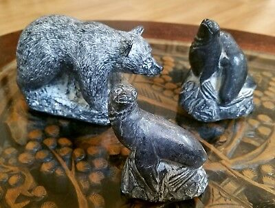 Three Wolf Original Soapstone Sculptures - Hand Made in Canada
