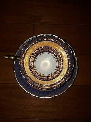 Beautiful Vintage Royal Stafford ENGLISH BONE CHINA Blue Gold Teacup And Saucer