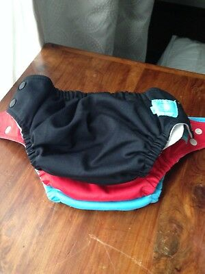 3 Charlie Banana Cloth Pocket Diapers Lot Adjustable One Size With 3 Inserts
