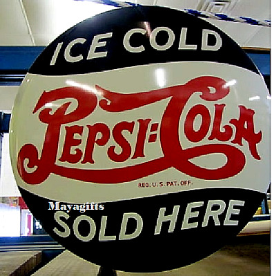"Vintage Pepsi Cola 17"" Domed Round Button Metal Sign, Home, Man Cave, Bar Decor"