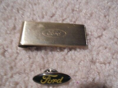 Vintage FORD Lot (2 Pieces) Goldtone engraved MONEY CLIP + LAPEL PIN Employee